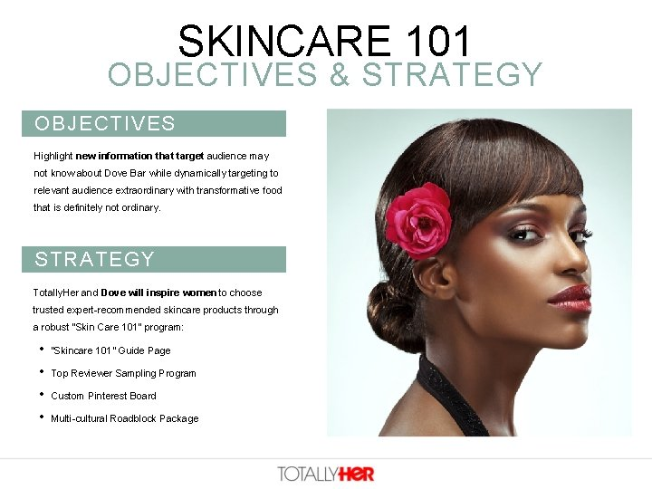 SKINCARE 101 OBJECTIVES & STRATEGY OBJECTIVES Highlight new information that target audience may not