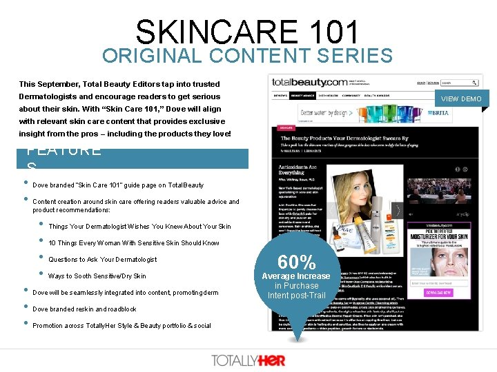 SKINCARE 101 ORIGINAL CONTENT SERIES This September, Total Beauty Editors tap into trusted Dermatologists