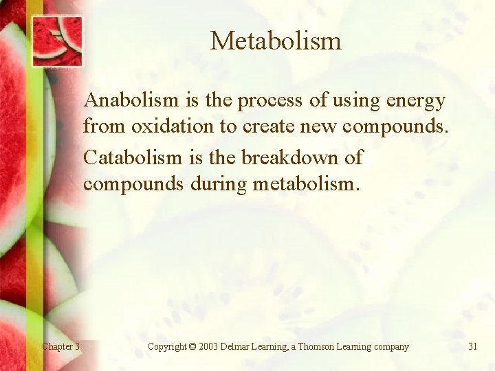 Metabolism Anabolism is the process of using energy from oxidation to create new compounds.