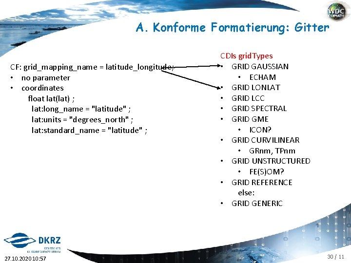 A. Konforme Formatierung: Gitter CF: grid_mapping_name = latitude_longitude; • no parameter • coordinates float