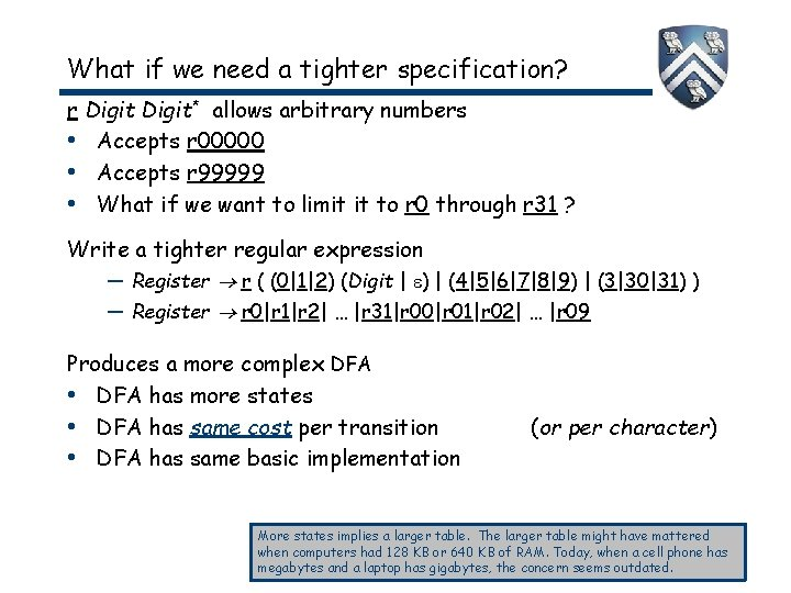 What if we need a tighter specification? r Digit* allows arbitrary numbers • Accepts