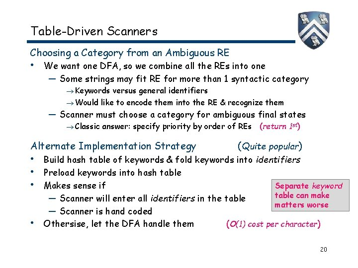 Table-Driven Scanners Choosing a Category from an Ambiguous RE • We want one DFA,