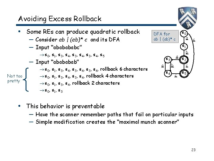 Avoiding Excess Rollback • Some REs can produce quadratic rollback — Consider ab  