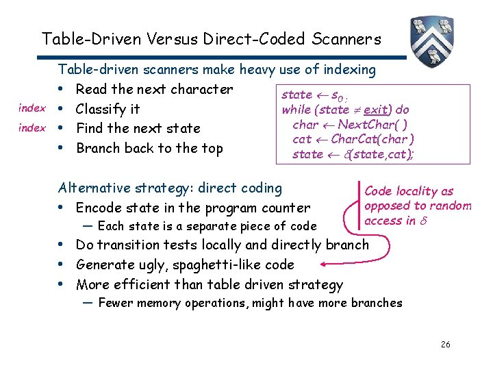 Table-Driven Versus Direct-Coded Scanners index Table-driven scanners make heavy use of indexing • Read