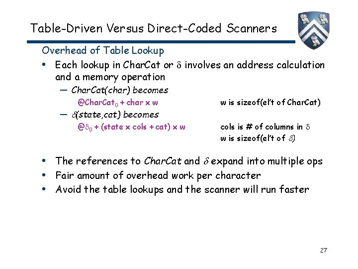 Table-Driven Versus Direct-Coded Scanners Overhead of Table Lookup • Each lookup in Char. Cat