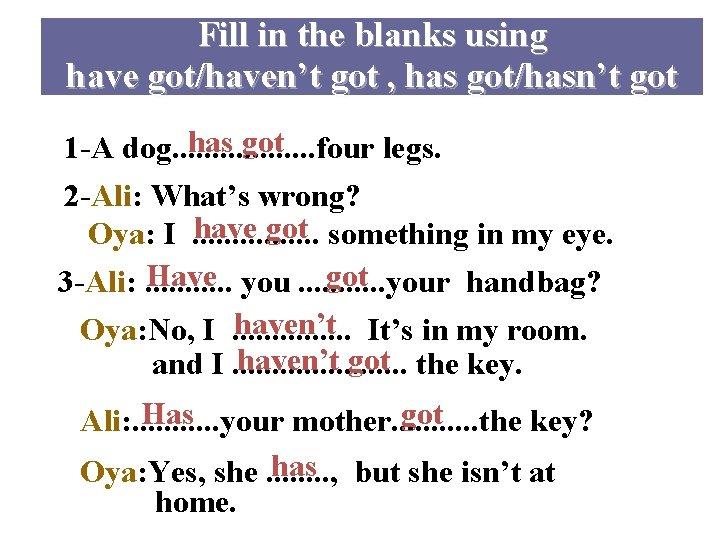 Fill in the blanks using have got/haven't got , has got/hasn't got has got