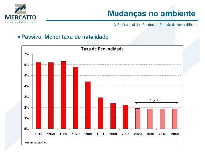 Mudanças no ambiente O Profissional dos Fundos de Pensão do Novo Milênio § Passivo: