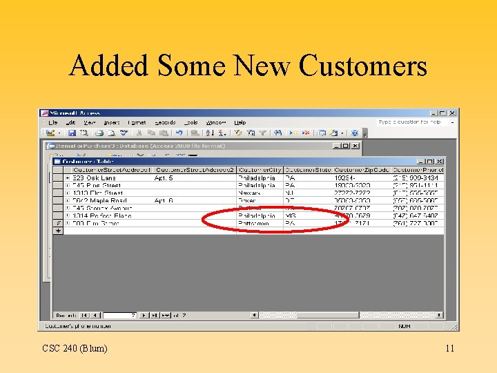 Added Some New Customers CSC 240 (Blum) 11