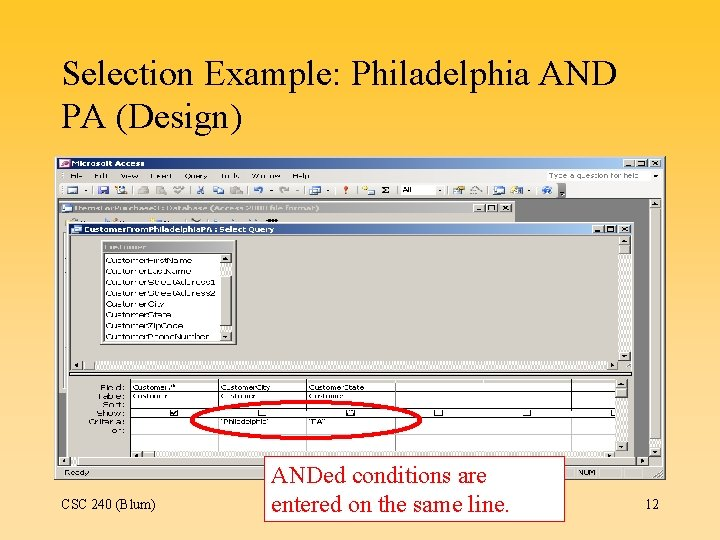 Selection Example: Philadelphia AND PA (Design) CSC 240 (Blum) ANDed conditions are entered on