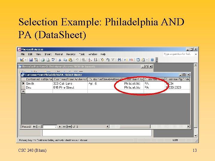 Selection Example: Philadelphia AND PA (Data. Sheet) CSC 240 (Blum) 13