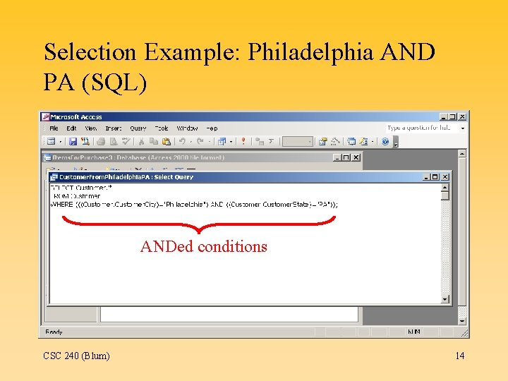 Selection Example: Philadelphia AND PA (SQL) ANDed conditions CSC 240 (Blum) 14