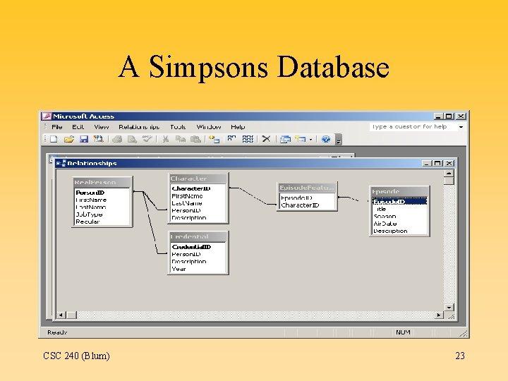 A Simpsons Database CSC 240 (Blum) 23