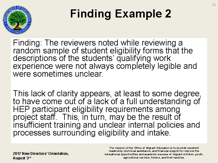 11 Finding Example 2 Finding: The reviewers noted while reviewing a random sample of