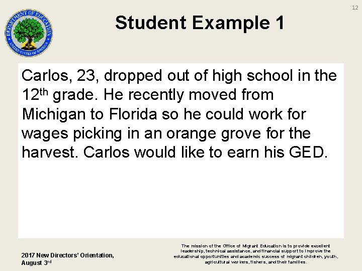 12 Student Example 1 Carlos, 23, dropped out of high school in the 12
