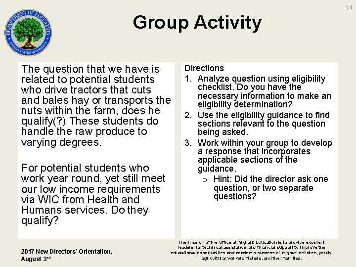 14 Group Activity The question that we have is related to potential students who