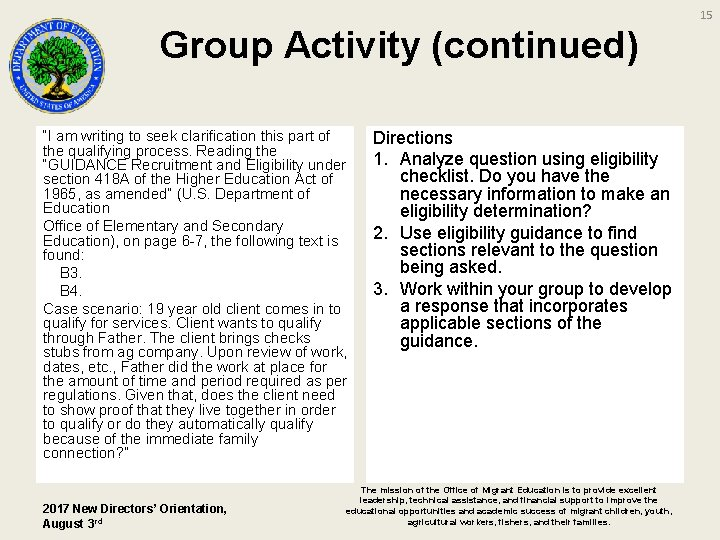 """15 Group Activity (continued) """"I am writing to seek clarification this part of the"""