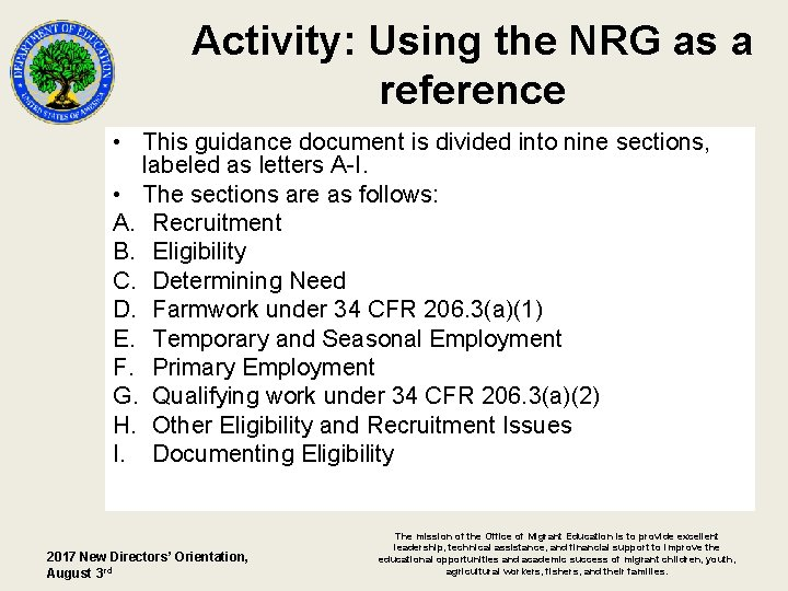 Activity: Using the NRG as a reference • This guidance document is divided into
