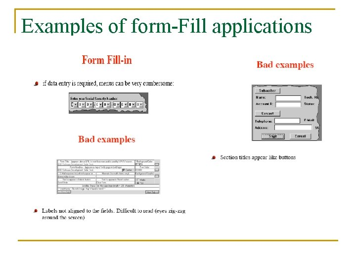 Examples of form-Fill applications