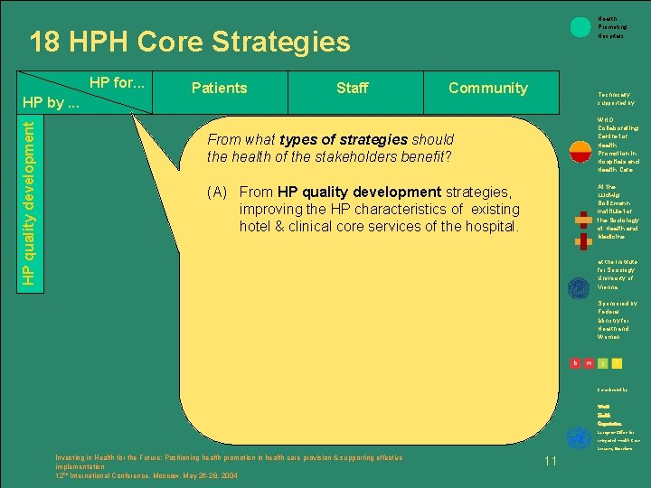 Health Promoting Hospitals 18 HPH Core Strategies HP for. . . HP quality development