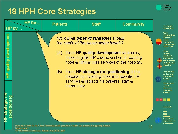Health Promoting Hospitals 18 HPH Core Strategies HP for. . . Staff Community Technically