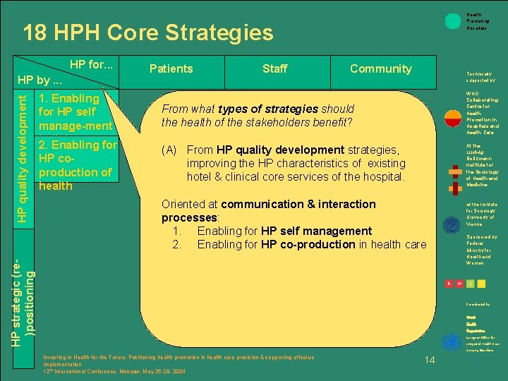 Health Promoting Hospitals 18 HPH Core Strategies HP for. . . 1. Enabling for