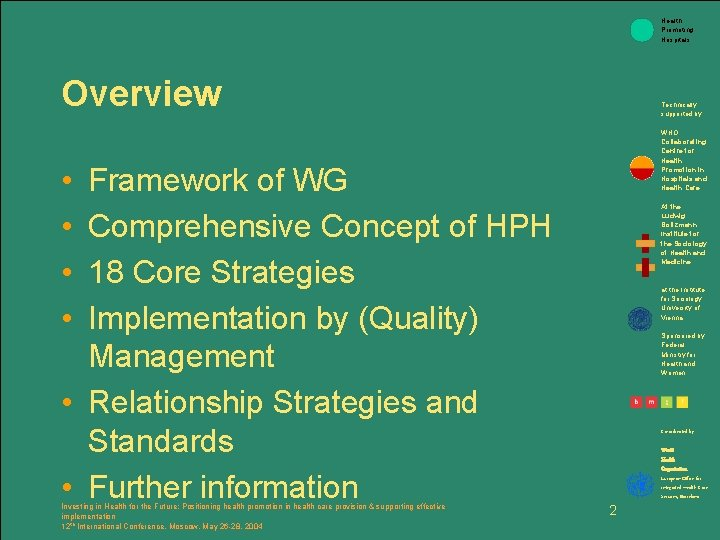 Health Promoting Hospitals Overview Technically supported by: WHO Collaborating Centre for Health Promotion in