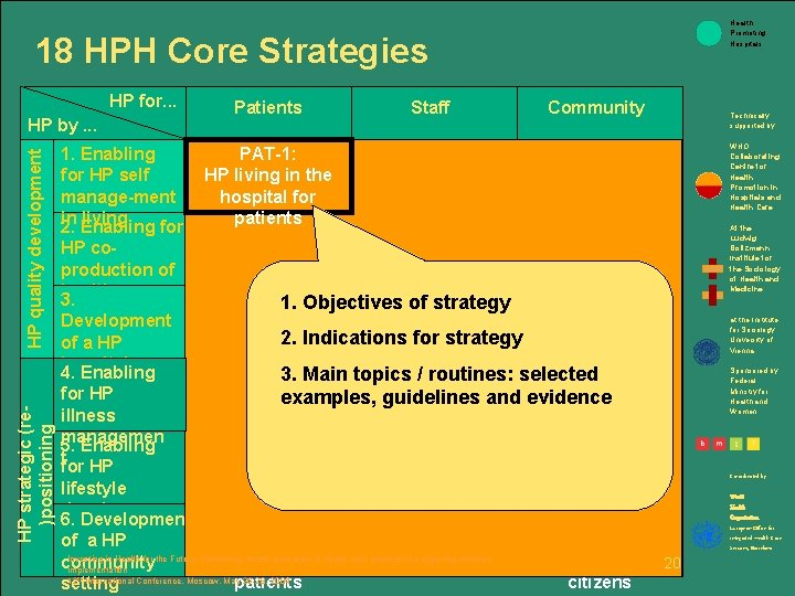 Health Promoting Hospitals 18 HPH Core Strategies HP for. . . HP strategic (re)positioning