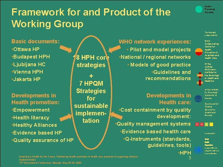 Health Promoting Hospitals Framework for and Product of the Working Group Technically supported by: