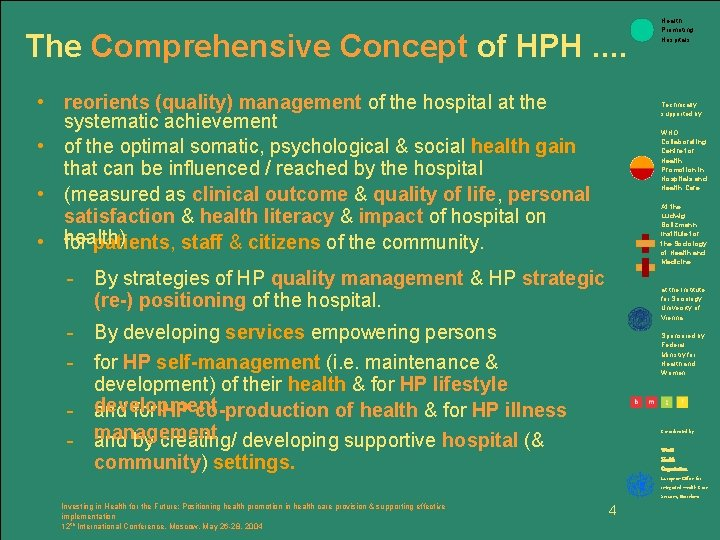 The Comprehensive Concept of HPH. . • reorients (quality) management of the hospital at