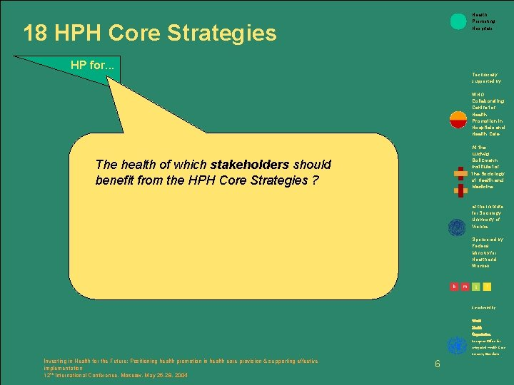Health Promoting Hospitals 18 HPH Core Strategies HP for. . . Technically supported by: