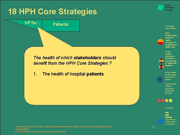 Health Promoting Hospitals 18 HPH Core Strategies HP for. . . Patients Technically supported