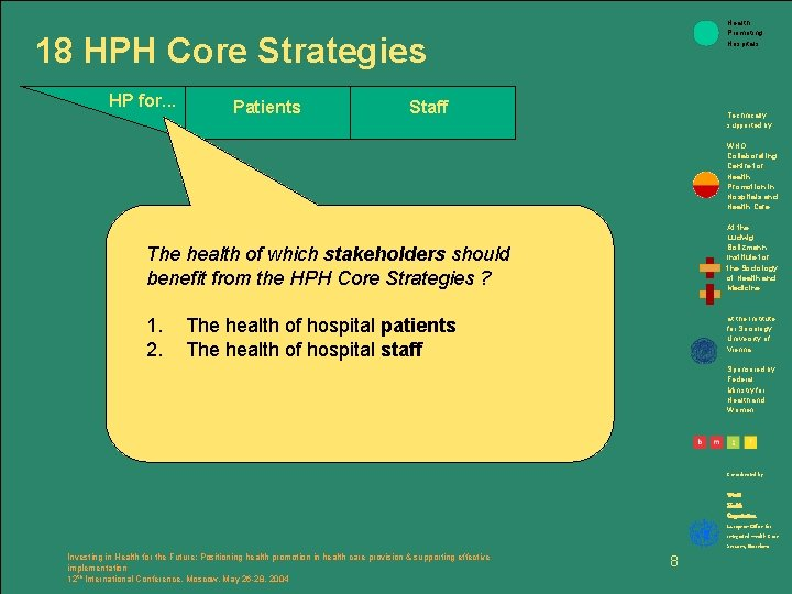 Health Promoting Hospitals 18 HPH Core Strategies HP for. . . Patients Staff Technically