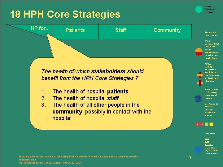 Health Promoting Hospitals 18 HPH Core Strategies HP for. . . Patients Staff Community