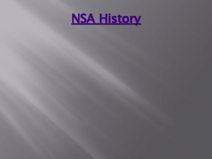 NSA History
