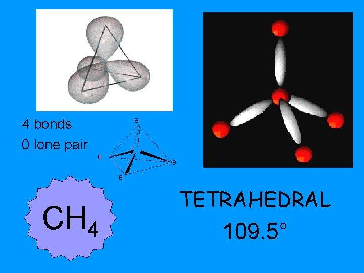4 bonds 0 lone pair B A B B B CH 4 TETRAHEDRAL 109.