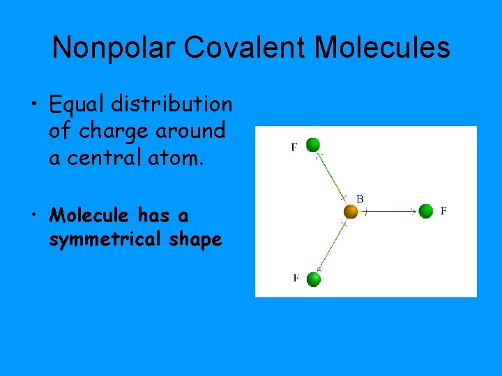 Nonpolar Covalent Molecules • Equal distribution of charge around a central atom. • Molecule