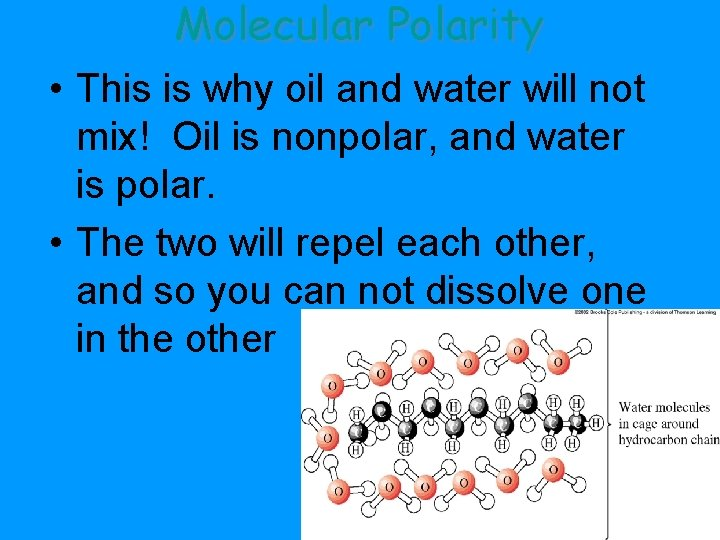 Molecular Polarity • This is why oil and water will not mix! Oil is