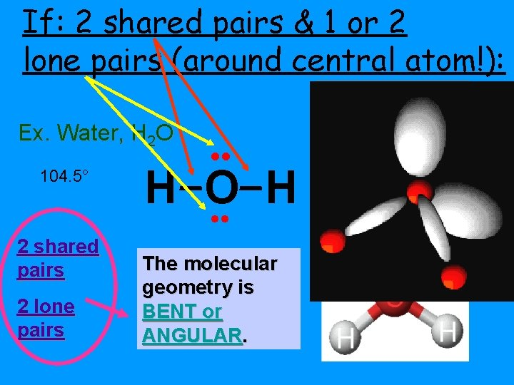 If: 2 shared pairs & 1 or 2 lone pairs (around central atom!): Ex.