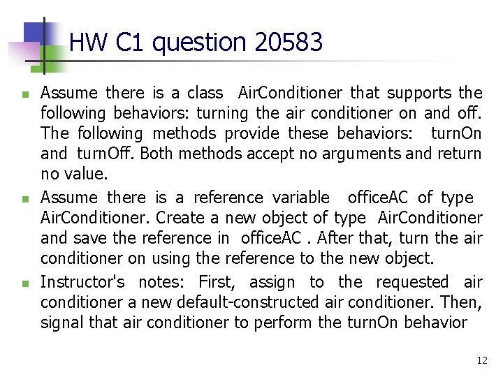 HW C 1 question 20583 n n n Assume there is a class Air.
