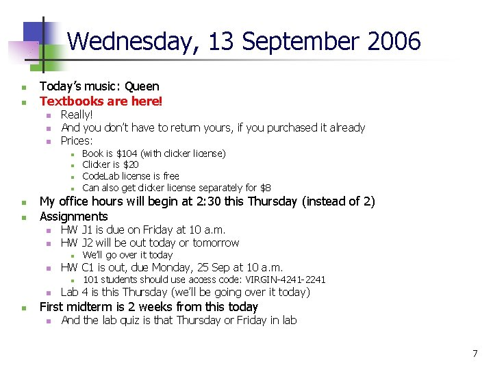 Wednesday, 13 September 2006 n n Today's music: Queen Textbooks are here! n n
