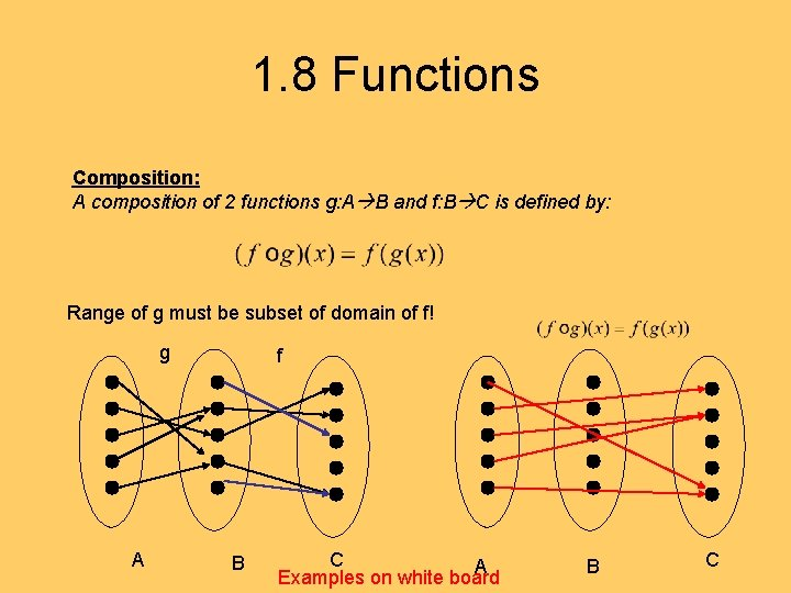 1. 8 Functions Composition: A composition of 2 functions g: A B and f: