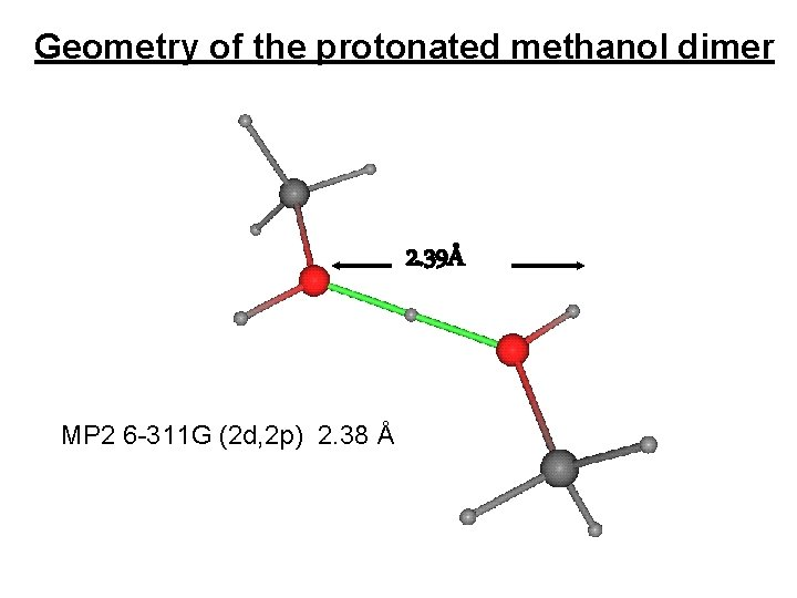 Geometry of the protonated methanol dimer 2. 39Å MP 2 6 -311 G (2
