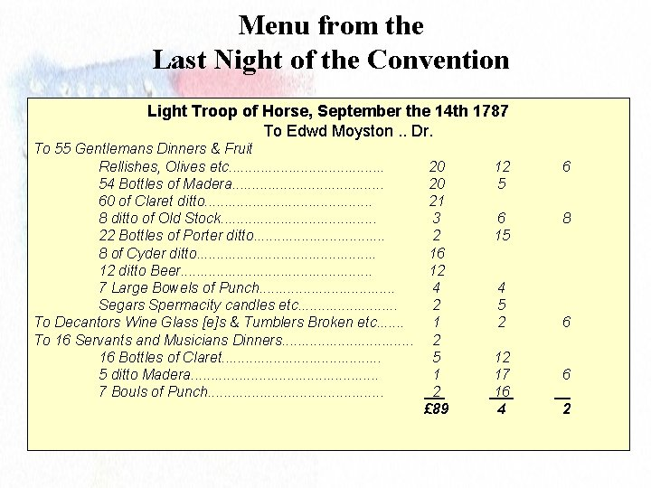 Menu from the Last Night of the Convention Light Troop of Horse, September the