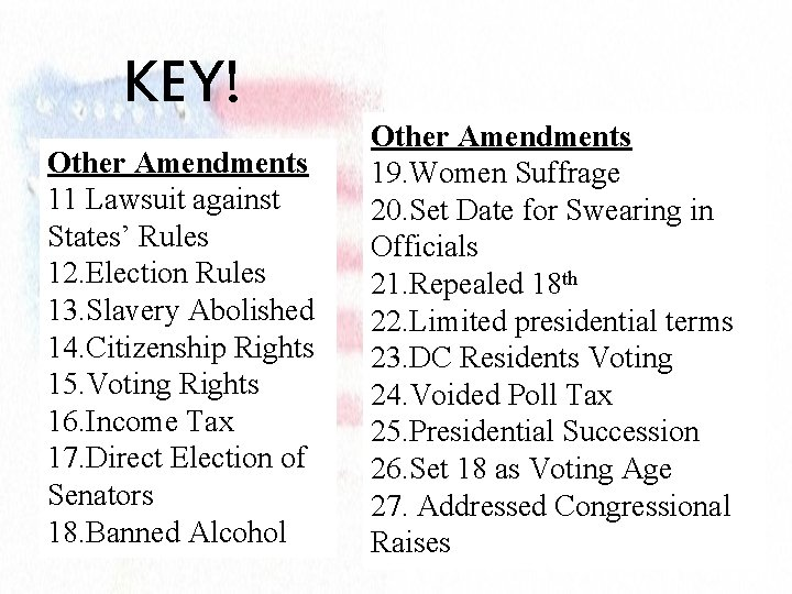 KEY! Other Amendments 11 Lawsuit against States' Rules 12. Election Rules 13. Slavery Abolished