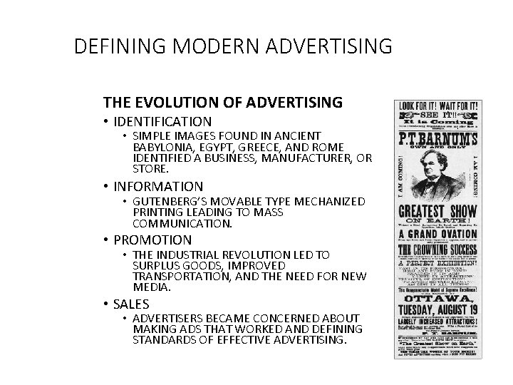 DEFINING MODERN ADVERTISING THE EVOLUTION OF ADVERTISING • IDENTIFICATION • SIMPLE IMAGES FOUND IN