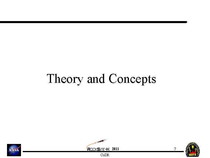 Theory and Concepts 2011 Co. DR 7