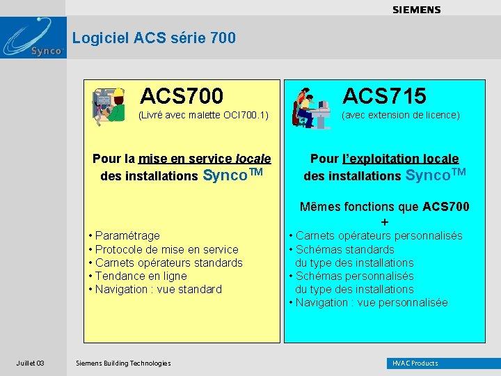 . . . . Logiciel ACS série 700 ACS 715 (Livré avec malette OCI