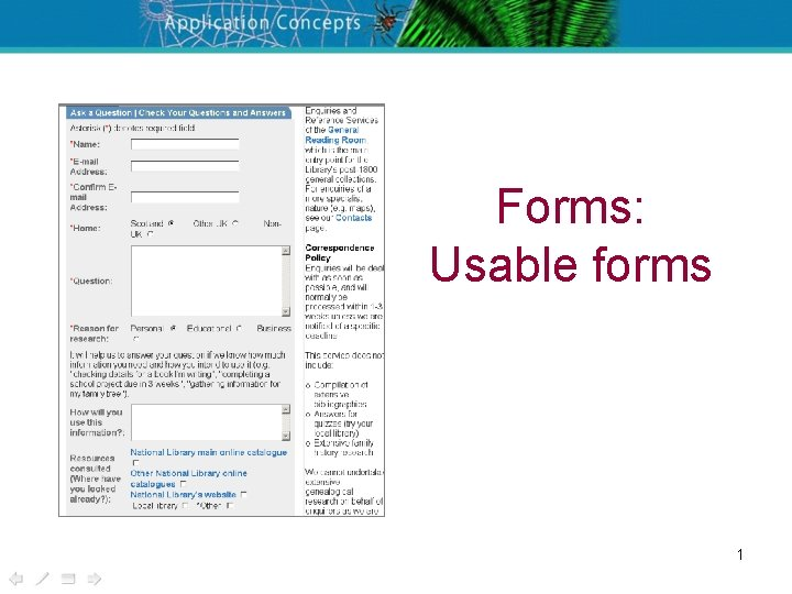 Forms: Usable forms 1