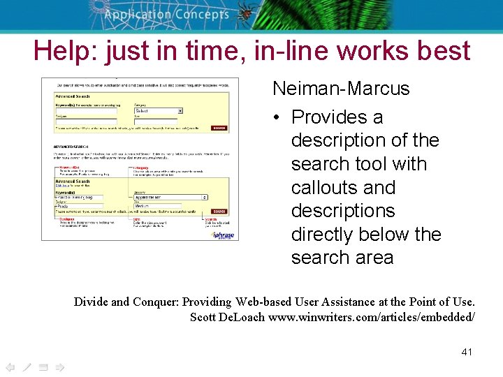 Help: just in time, in-line works best Neiman-Marcus • Provides a description of the