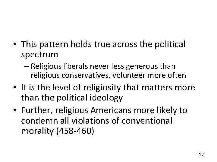 • This pattern holds true across the political spectrum – Religious liberals never